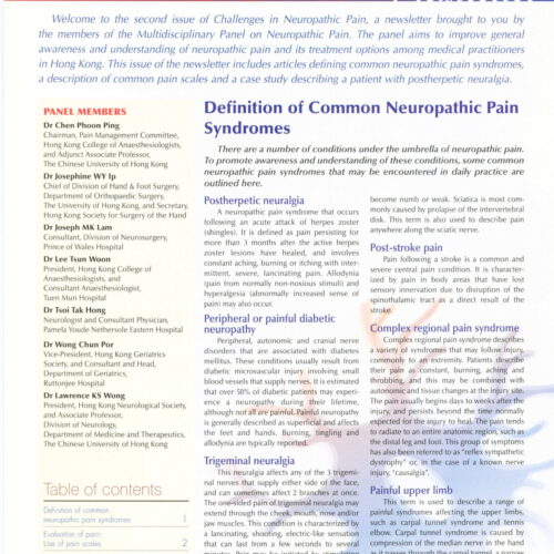 Definiation of Common Neuropathic Pain Syndromes