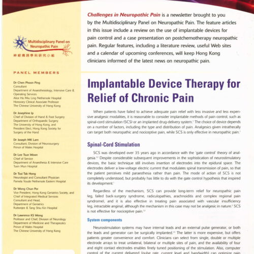 Implantable Device Therapy for Relief of Chronic Pain